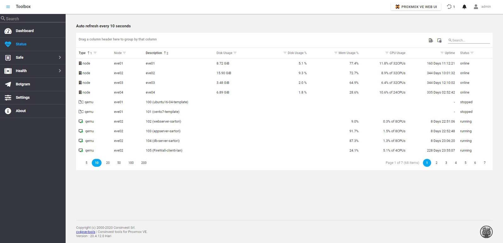 proxmox monitoring tools health status nodes